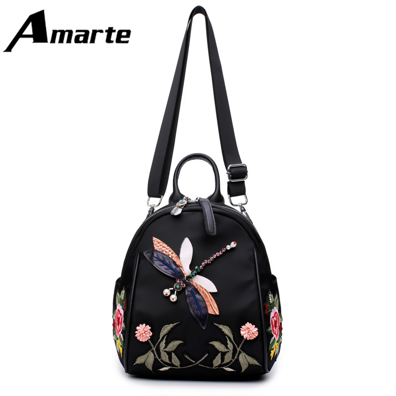 Amarte Women Nylon Backpacks 2019 New Fashion Embroidery Design Female Big Capacity Backpack  Casual Daypack