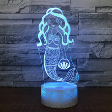 Cute Mermaid Shape 3D Table Lamp Touch Control 7 Color Changing Acrylic Baby Night Light USB Decorative Kids Christmas Gifts fairy tale mermaid princess 3d lamp 7 color led night lamp for kids touch remote usb table lamp baby sleeping night light
