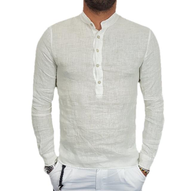 ec6710630b78 Mens Long Sleeve Mandarin Collar Solid Button Dress Shirts Casual Slim Fit  White Black Linen Classic
