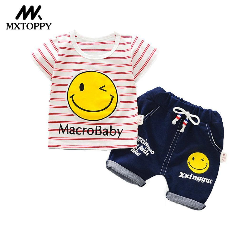MXTOPPY Комплект одежды для маленьких мальчиков летний комплект для малышей в полоску футболка + шорты Детская Одежда наборы Дети Костюмы