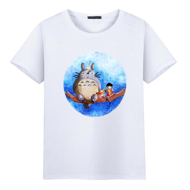 2017 Men Summer Fashion Print Miyazaki Hayao Spirited Away Cartoon Totoro Funny T Shirt O-Neck Short Sleeves Top Tee HCP1043