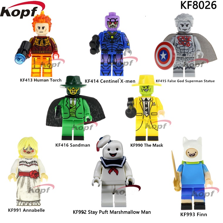 10Set KF8026 Super Heroes Human Torch Sandman Annabelle False God Sueprman Statue Bricks Building Blocks Children Gift Toys