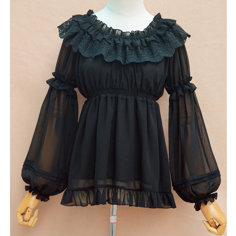 b0628b4a9127f2 New Arrival Women Gothic Vintage Lace Ruffle Lolita Long Sleeve Black/White Chiffon  Dress Female Retro large pendulum dresses