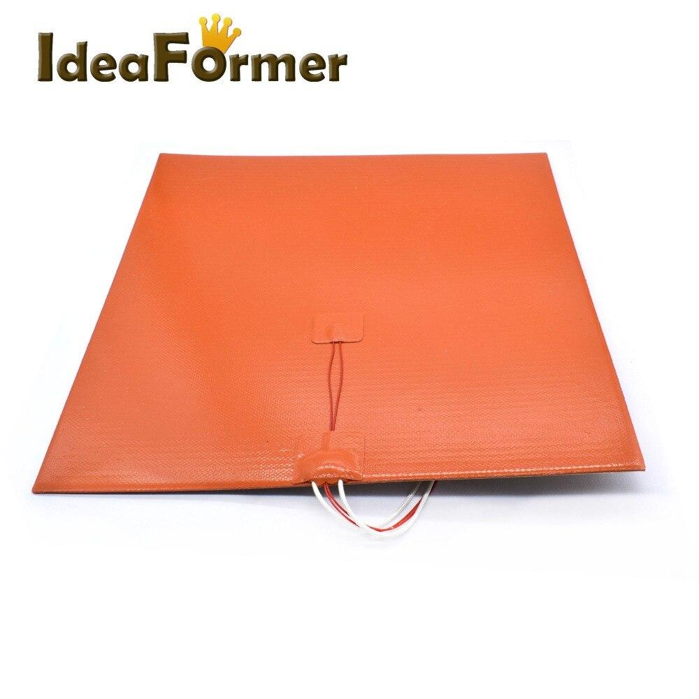 Réchauffeur de coussin chauffant en Silicone 400*400 24 V 800 W avec adhésif 3 M et thermistance pour lit chaud d'imprimante 3D