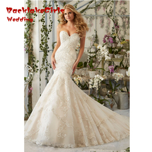 2017 New Spring Design Luxury Bridal Sweetheart Sleeveless Custom Made Beading Lace Mermaid Wedding Dresses