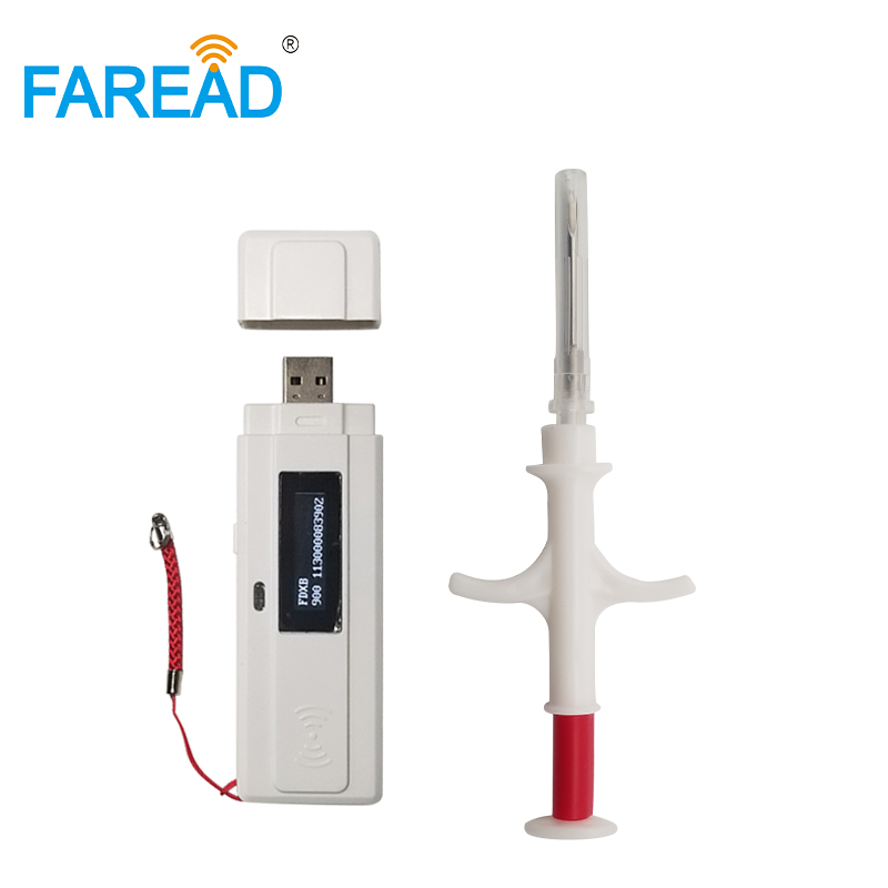 Best-selling Free Sample 1pc Microchip Syringe+x1 RFID Mini Pocket Portable Scanner Pet Chip Reader ISO11784/5 134.2KHz Standard