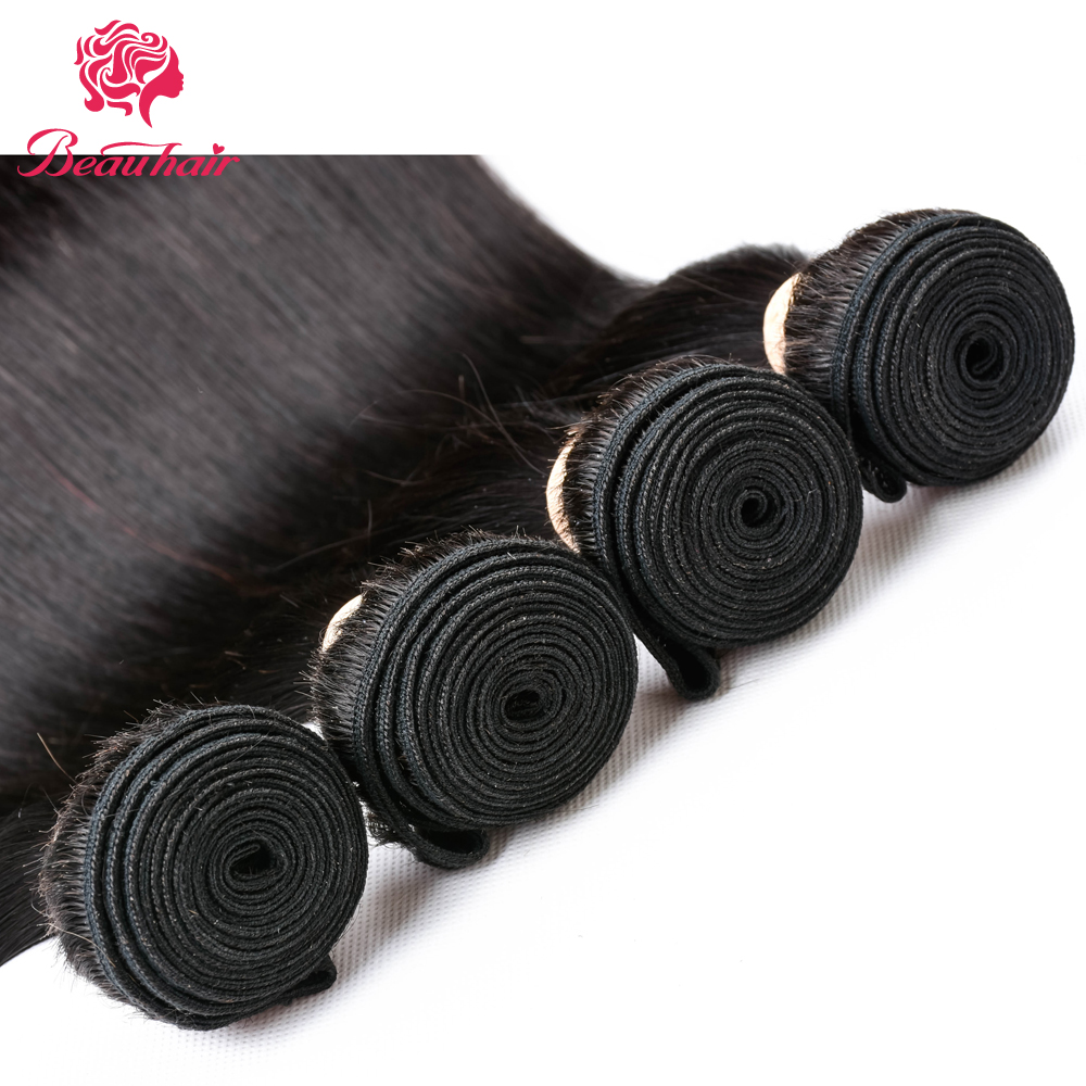 Beau 3Bundles Brazilian Straight Human Hair Bundles With Lace Frontal Free Part Ear To Ear Natural Color Non Remy Hair Bundles