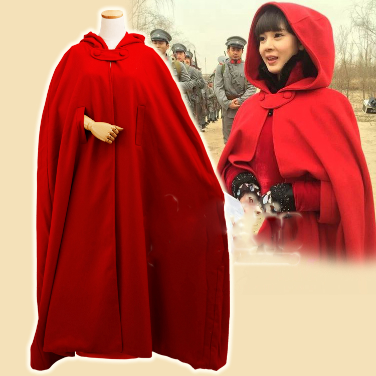 Republican Period TV Play Monster Killer Wu Xin Fa Shi Actress Same Design Long Red Cloak Little Red Riding Hood