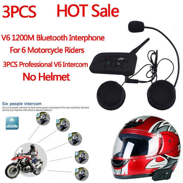 3 unids motorycle bt intercom casco auricular bluetooth walkie talkie interfono v6 1200 m 6 jinetes esquiadores ciclistas moto comunicación