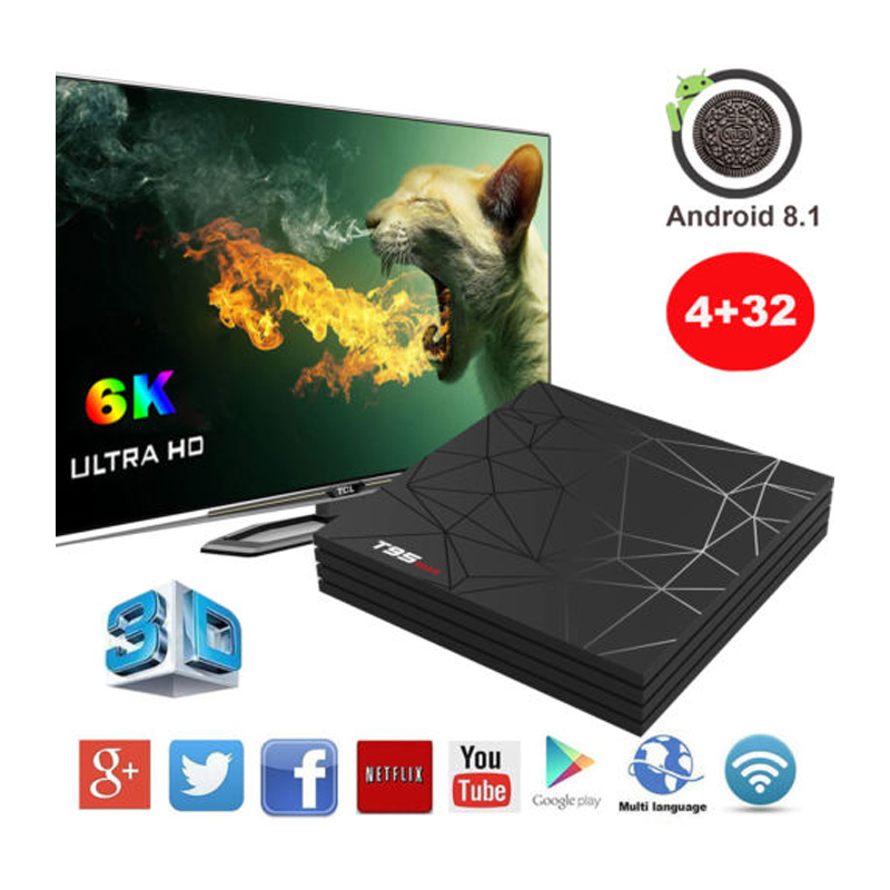 Android 9 0 Smart TV Box T95 MAX 6K Allwinner H6 4GB 32GB 2 4GHz WiFi  100Mbps Ethernet H 265 Set Top
