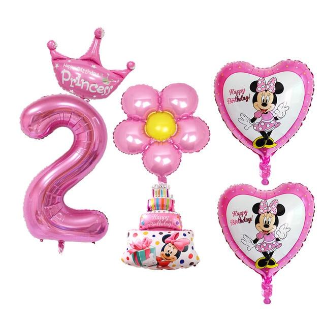 6pcs Set Baby Boy Girl 2nd Birthday Balloons Cake Digital 2 Foil For Kids