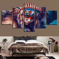 Холст Картины для Гостиная дома стены Книги по искусству Декор 5 шт. Индианс девушка Перо картинки HD печатает абстрактная Плакаты No Frame