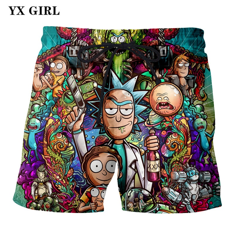 2018 NEW Fashion Mens Rick And Morty Casual Shorts Summer Short Loose Trousers For Men Rick And Morty 3D Print Casual Shorts