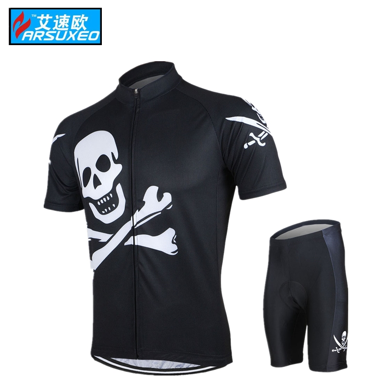 ARSUXEO Mens ropa ciclismo jersey motocross summer Cycling Short Sleeves Jersey Bike Bicycle Sets Shirts Wear MTB Clothing