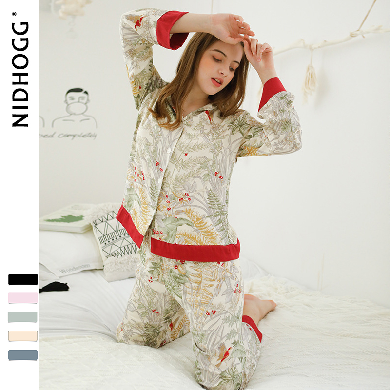 Image 4 - Spring New Casual Long Sleeve Satin Pajama Set Green Grass Printing Sleepwear Loungewear Women Turn down Collar Pijama Mujer-in Pajama Sets from Underwear & Sleepwears