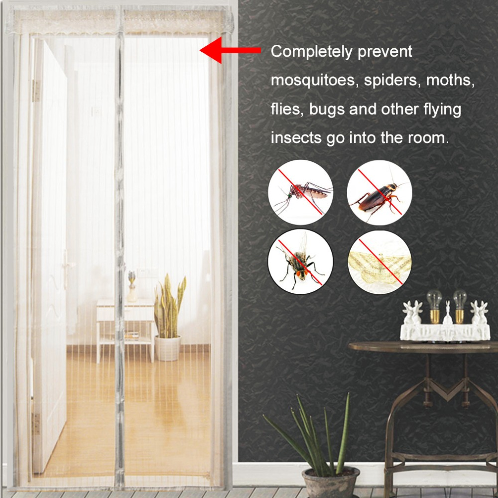 Summer Anti Mosquito Insect Fly Bug Curtains Magnetic Mesh Net Automatic Closing Door Screen Kitchen Curtains black anti mosquito pest window net mesh screen curtain protector