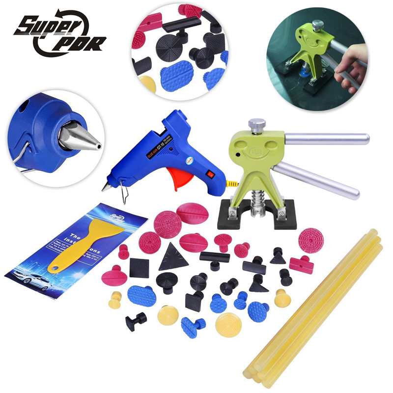 Super PDR small dent repair removal tools green dent lifter puller tabs glue gun glue sticks for car tool kit to remove dents pdr tools auto repair tools for car kit dent removal paintelss dent repair mini lifter glue gun pulling bridge puller glue tabs
