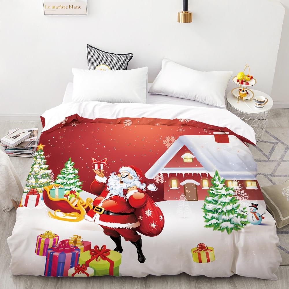 3D HD Digital Printing Custom Duvet Cover,Quilt/Blanket Case Queen King Bedding 200x200 For Kids,Christmas Santa Claus Red Gift