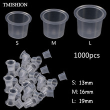Wholesale 1000Pcs Disposable Tattoo Ink Cups S/M/L Plastic Clear Eyebrow Makeup Pigment Container Caps Holder Tattoo Accessories