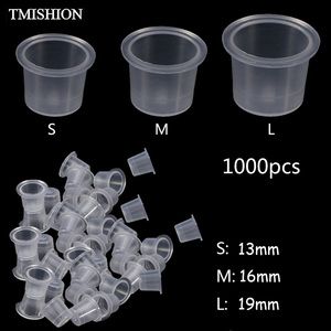 Image 1 - Wholesale 1000Pcs Disposable Tattoo Ink Cups S/M/L Plastic Clear Eyebrow Makeup Pigment Container Caps Holder Tattoo Accessories