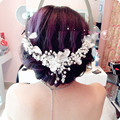 Bridal jewelry pearl crystal headdress head flower hair ornaments handmade bendable big tiara hair bands butterfly crown