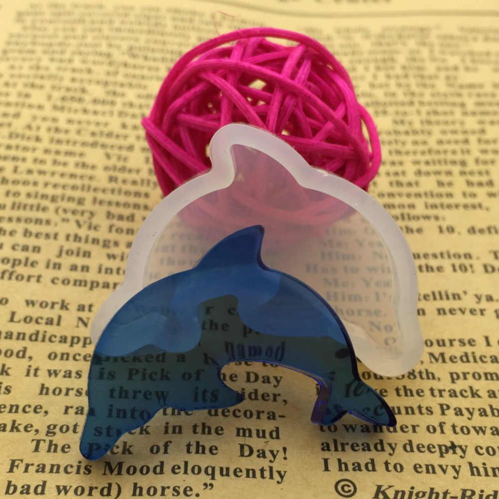 """Resin silikon Cetakan Untuk Membuat Perhiasan Dolphin Hewan Putih 38mm (1 4/8 """") x 27mm (1 1/8""""), 1 Piece"""
