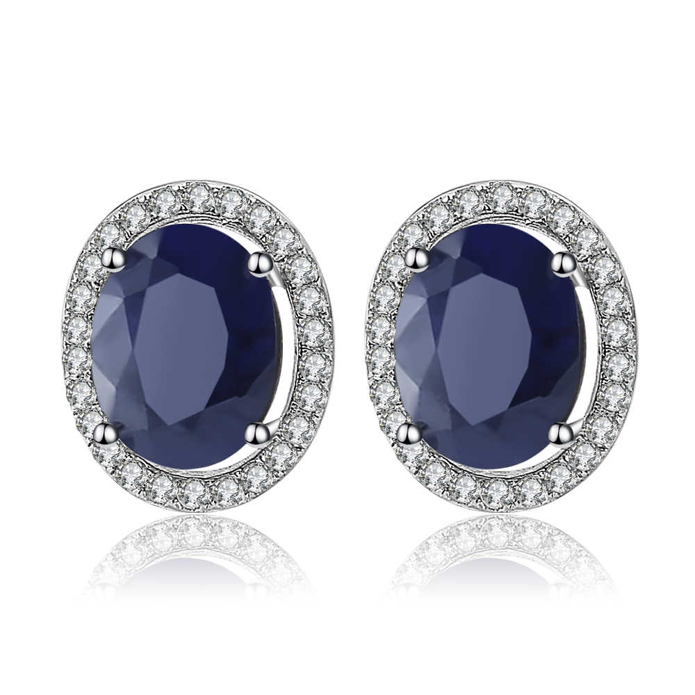 Gem's Ballet  4.04t Oval Natural Blue Sapphire Gemstone 925 Sterling Silver Stud Earrings With Jackets Fine Jewelry for Women