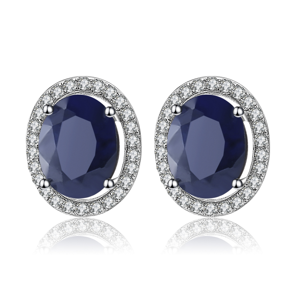 Gem's Ballet  4.04t Oval Natural Blue Sapphire Gemstone 925 Sterling Silver Stud Earrings With Jackets Fine Jewelry for Women-in Earrings from Jewelry & Accessories    1