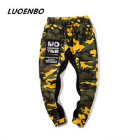 LUOENBO 2018 New American style camouflage pants Male Men's street Hip Hop Pantstrouser pants and Men's trousers patchwork Man