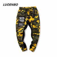 LUOENBO 2018 nowy amerykański styl kamuflażu spodnie męskie męskie street Hip Hop Pantstrouser spodnie i męskie spodnie patchwork człowiek