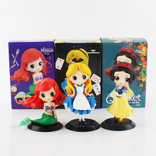 3pcs lot Q Posket Alice Alice in Wonderland Ariel The Little Mermaid Snow White PVC Figure