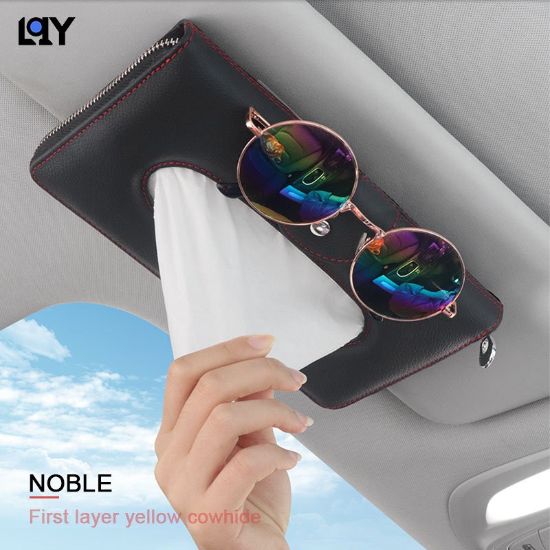 LQU car accessories tissue box High end Genuine Leather Napkin for sun visor armrest fine Hand stitching