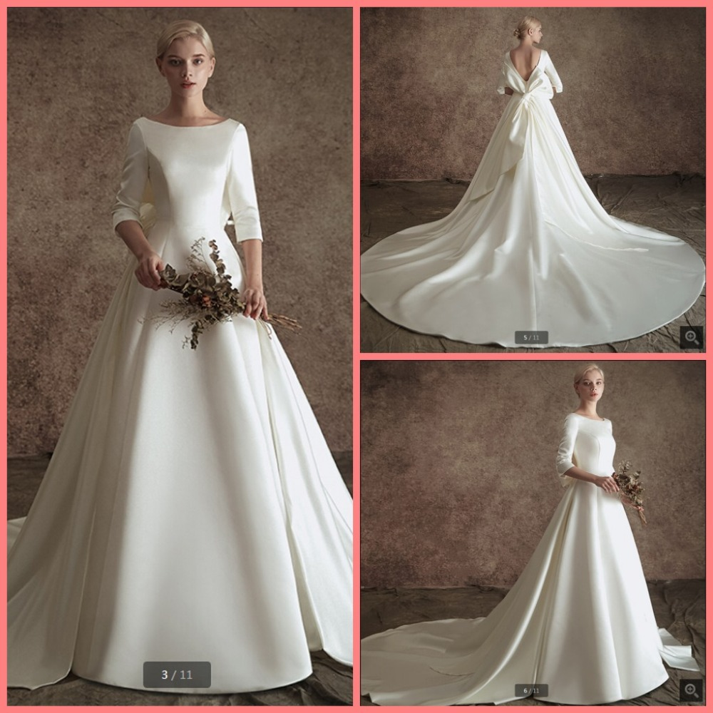 Removable Wedding Gown Dress: Robe De Mariage 2019 Ivory Satin Ball Gown 3/4 Sleeve