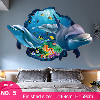 7 Kinds Dolphin Floor Stickers Sea Animals 3D Wall Stickers Bedroom Home Decors Mural Art Wall Decals Vinyl Wallpaper Waterproof 11