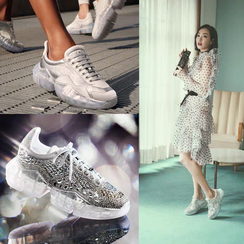 Fashion 2019 Spring Crystal ins Net Hot Shoes Woman Rhinestone Women Casual White Shoes Transparent platform Shoes Zapatos Mujer 6