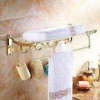 Sus304 Нержавеющаясталь Ванная комната полки полированное золото Полотенца стойки с крюком Аксессуары для ванной кулон Полотенца стойки Пол