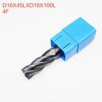1PCS D16X45LXD16X100L 4 Flute HRC50 16mm CNC Endmill Router Bits Solid Carbide Endmill Standard Length face mill Milling Cutter