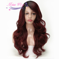 MISS WIG Synthetic Lace Front Wig Red Color 26inch Long Wavy Wigs For Women Heat Resistant Lace Handmade Wearing More Natural