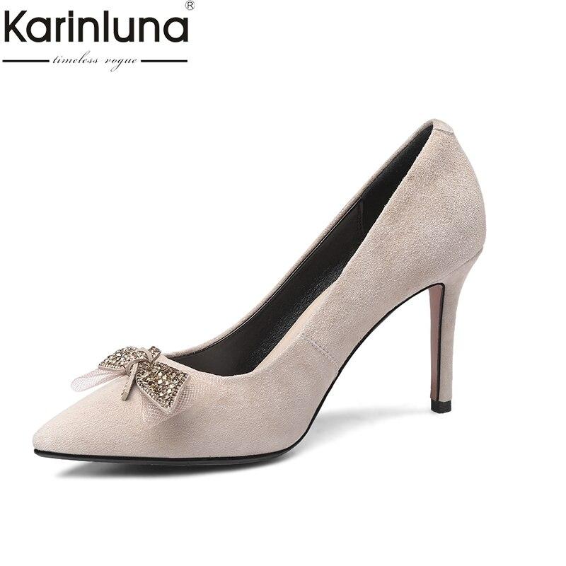 2e0388304d Nova Madura Das 2019 Sapatos Mulheres Karinluna Saltos Finas Moda Pontas  Estilo Chique Altos Apricot preto ...