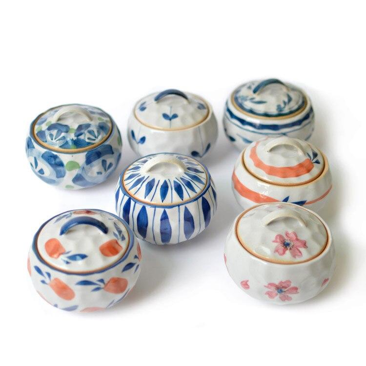 Korean Japanese Hand Painted Bowl Tureen Steamed Egg Soup Pot Crock Lid Retro China