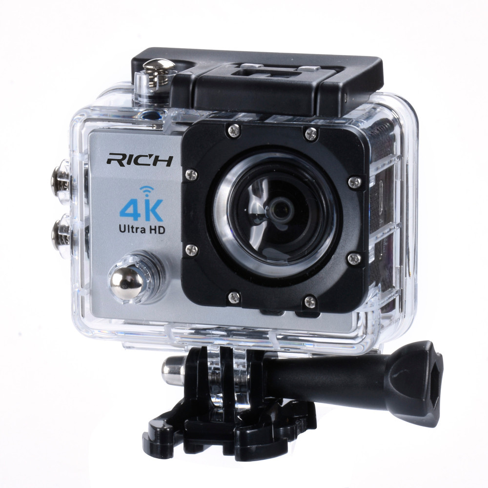 RICH Action camera Hd 4K 170 degree wide angle 30M WIF Sport Camra Deportiva Extra Aluminum Extendable Pole Stick+bag