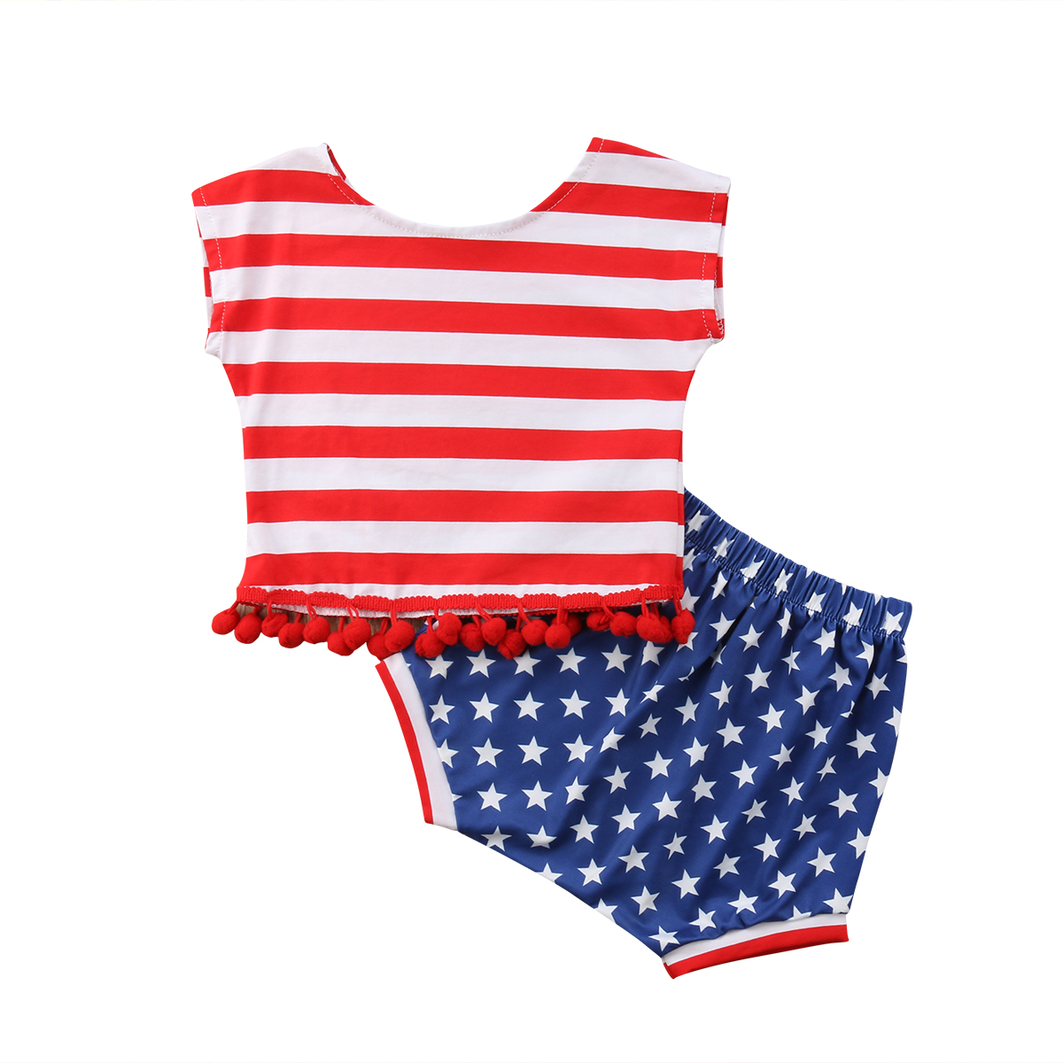 Baby Girl 4th of July Patriotic Outfit US Flag Print Vest Tops TuTu Shorts Set