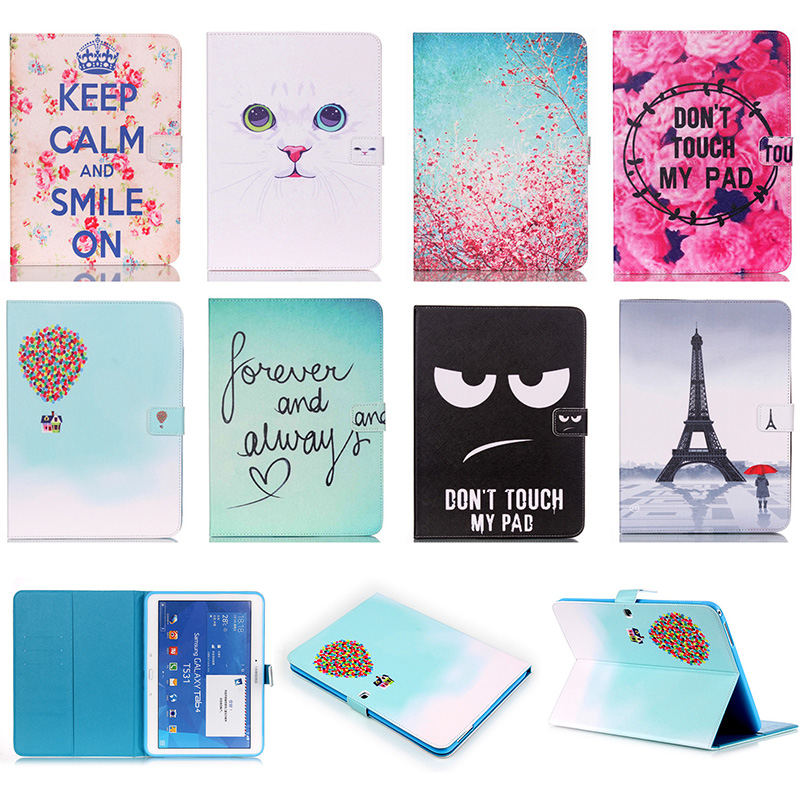 Fashion Cat Eye Tower Pattern PU Leather Flip Case For Samsung GALAXY Tab 4 10.1 SM-T531 T530 Cover Smart Tablet Card Slot DP00E luxury flip stand case for samsung galaxy tab 3 10 1 p5200 p5210 p5220 tablet 10 1 inch pu leather protective cover for tab3