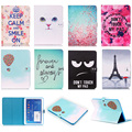 Fashion Cat Eye Tower Pattern PU Leather Flip Case For Samsung GALAXY Tab 4 10.1 SM-T531 T530 Cover Smart Tablet With Card Slot
