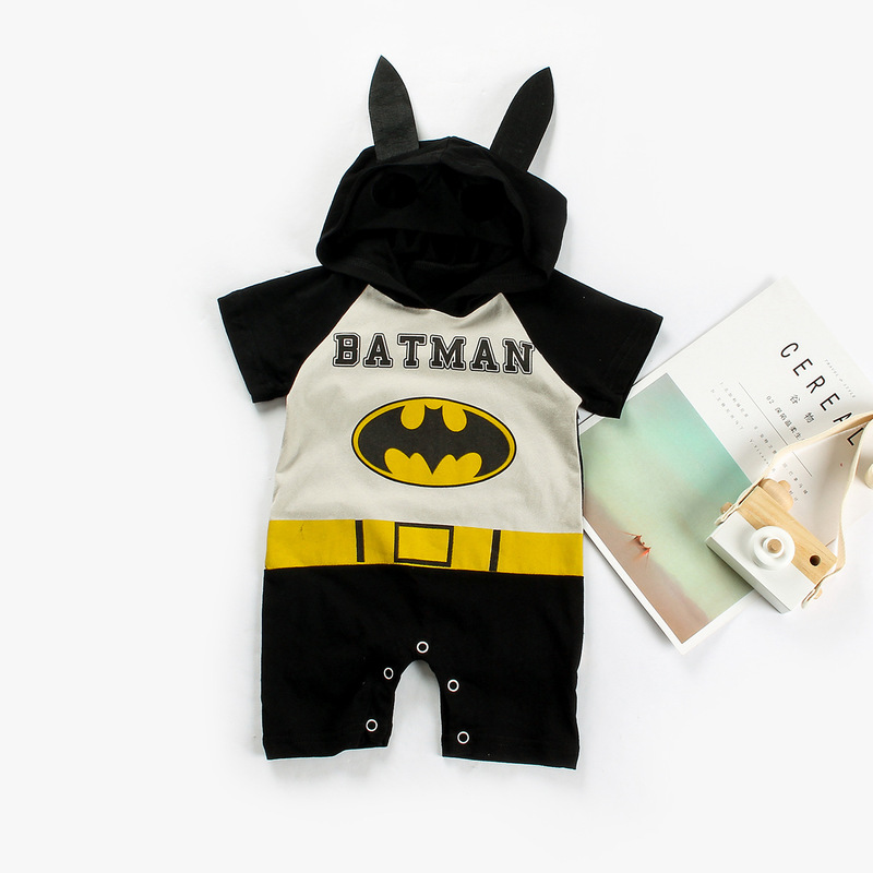 NEW cotton baby boy baby girl jumpsuit baby boy girl short sleeve summer cartoon machine cat child cute clothes in Rompers from Mother Kids