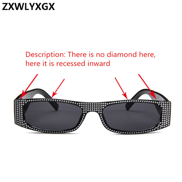 ZXWLYXGX Small square sunglasses women imitation diamond sung lasses Retro evening glasses cross fashion sunglasses UV400 2