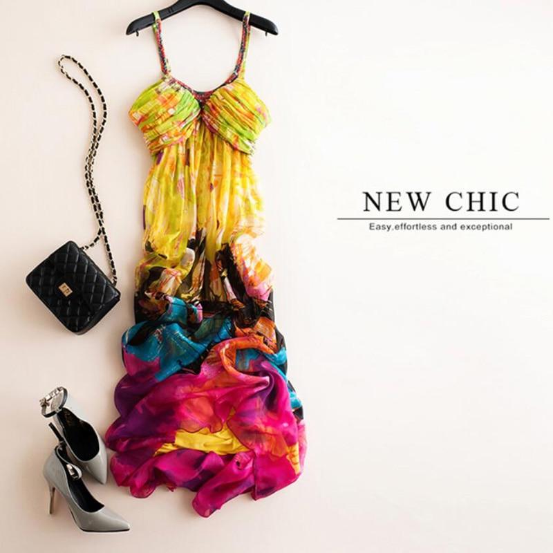 Silk Dresses Women Natural Silk High Quality Print Holiday Beach dress Yellow Long Elegent Spaghetti Strap V Neck Free Shipping