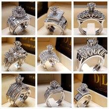 Round Brilliant Cubic Zirconia Ring Elegant Wedding Engagement Band Set Trendy Cocktail for Women Sizes 6 to 10