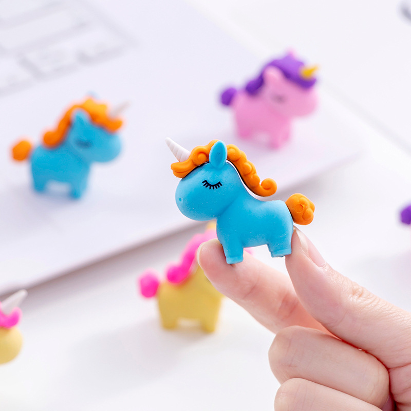 36pc/lot Creative Cartoon Cute Unicorn Horse Animal Rubber Eraser/ Stationery For Children Students/nice Gift Eraser