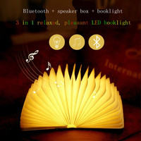 Creative Multifunction Wooden Bluetooth Speaker Box Booklight Night Light Foldable Pages USB Rechargeable Beside Lamp Portable